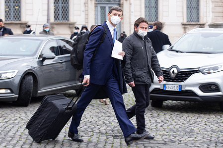 The Minister of Technological Innovation Vittorio Colao leaves the Quirinale Palace after the oath of the Draghi government
