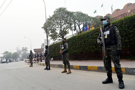 Pakistani Security Personnel stand guard outside Gaddafi Stadium during the 2nd T20 International between Pakistan and South Africa in Lahore.