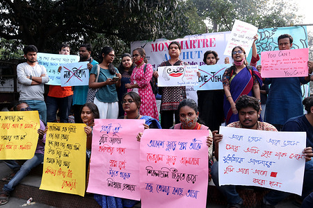 Students take part in the protest rally  against Love Jihad in front of Academy of Fine Arts in Kolkata.
