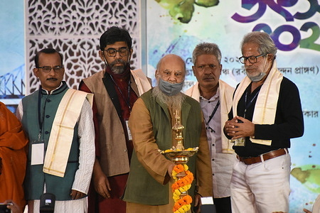 Painter Subhaprasanna Bhattacharjee (M) inaugurates the one day 'Kobita Utsav 2021' or 'Poetry Festival 2021' that organised by the government of West Bengal  in the presence of eminent persons on the Valentine's Day.