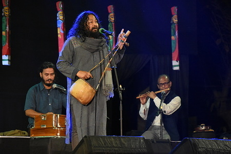 Saurav Moni with his group performing Bhatiyali song of Bengal at the 'Folk Safar, Dunes To Delta' - the last day evening concert of three days folk song festival in Kolkata.