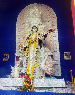 An idol of Hindu goddess Saraswati inside a pandal on Basant Panchami festival in Kolkata. Saraswati is goddess of education, knowledge, music, culture and art. Saraswati Puja is celebrated to announce the arrival of spring and has been synonymous with young girls and women dressing up in the finest of yellow or golden sarees and other outfits and going out to meet their friends and family. People worship goddess Saraswati in their homes and academic institution.