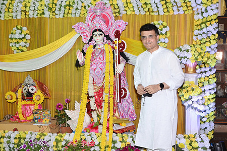 BCCI President and Former India Cricket Team Captain Sourav Ganguly celebrate the Saraswati Puja.