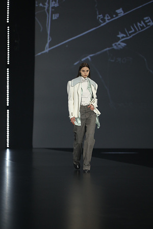 "Federico Cina presenting his collection ""A Emilia"" at AltaRoma 2021."