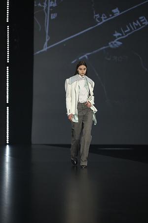 "Federico Cina presenting his collection ""A Emilia"" at AltaRoma 2021."