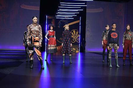 """Roi Du Lac presenting his collection """"L'Atene del Nord"""" at AltaRoma 2021."""