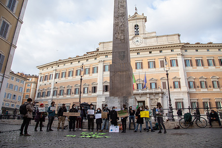 Sit-in in Rome in front of Montecitorio Palace organized by volunteers of Fridays For Future Rome movement, one month before the next Global Climate Strike, which will be on 19 March 2021, to report their ecological claims to Mario Draghi Government