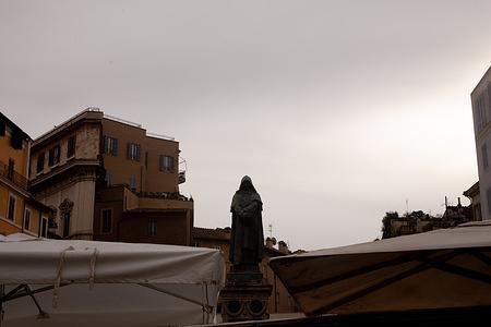 View of the statue of Giordano Bruno, in Piazza Campo dè Fiori in Rome