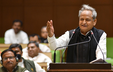 Rajasthan Chief Minister Ashok Gehlot presents the State Budget for the financial year 2021-22 in the Rajasthan Assembly, in Jaipur.
