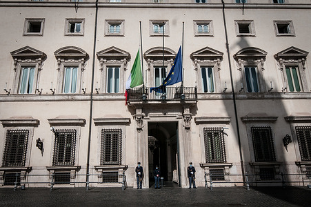 National Mourning the flag of Italy and the flag of the European Union are exposed at half-mast on Palazzo Chigi, seat of the Italian Government, on the occasion of the State funeral for the Italian Ambassador in the Democratic Republic of Congo, Luca Attanasio, and the Carabiniere Vittorio Iacovacci, victims of a cowardly terrorist attack on February 22 in Congo.