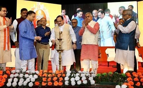 Bharatiya Janata Party National President Shri J P Nadda at the city intellectual meets programme ahead the West Bengal for the coming Legislative Assembly polls in Kolkata.