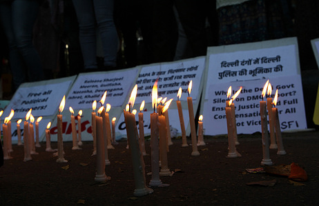 A candle light vigil. Diffrent students activist of Indian left political parties demonstrate in New Delhi demanding the release of people who has been arrested one year back while demonstrating against CAA (Citizen ammendment Act) introduced by Govornment of India. Student wing of left orientation political party, demonstrating against the arrest of people, who demonstrated against the citizen ammendment act .