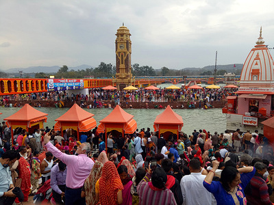 Lakhs of devotees gather at Har Ki Pauri Ghat to take a holy dip in Ganga river on the occasion of Magh Purnima (full moon day) in Haridwar.