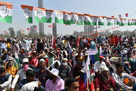 Party members of Indian National Congress, Indian Secular Front (ISF) and Left parties participate on the Brigade rally ahead of the West Bengal state legislative assembly elections in Kolkata.
