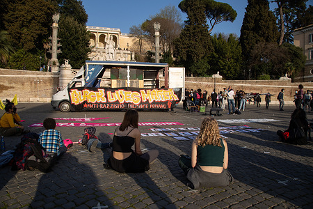 Demonstration in Piazza del Popolo in Rome organized by the Black Lives Matter Rome movement