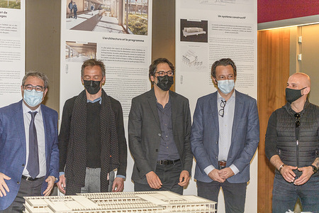 Aigle Switzerland - 2021/03/01: Presentation of the firm Giorgis Rodriguez Architectes SARL, Geneva which is in front of the models of the architectural project.