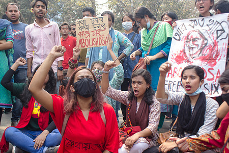 Student Union protest against Digital Security Act after writer Mushtaq Ahmed death in the custody of the police.  The protesters demand to abolish Digital Security Act in front of  the Ministry of Home Affair in Dhaka.