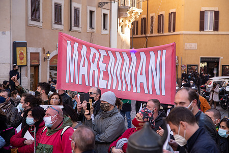 Demonstration in front of Montecitorio Palace in Rome organized by TNI Italia (National Protection of Companies).