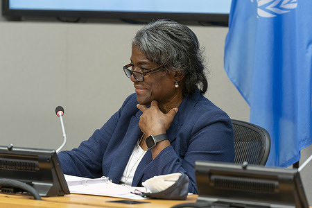 U. S. Permanent Representative to UN Ambassador Linda Thomas-Greenfield hybrid press briefing at UN Headquarters. Linda Thomas-Greenfield was nominated by President Joe Biden and confirmed by U. S. Senate. She is member of President cabinet and National Security Council.