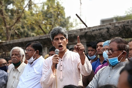 Anti-Digital Security Act procession towards the Prime Minister's Office in Dhaka.  Protesters demanded justice for author Mustaq Ahmed's death in custody and demanded the repeal of the Digital Security Act within independent days.