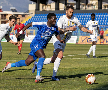 Serie C Championship - Marcello Torre Stadium, matchday 28 in Group C. The match between Paganese and Viterbese ends with the final result of 0-0. Abou Diop (11) Paganese Calcio 1926 and Vincenzo Camilleri (29) Viterbese.