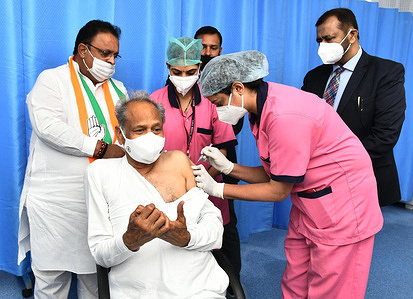 Rajasthan Chief Minister Ashok Gehlot being administered the COVID-19 vaccine, during a countrywide inoculation drive, at SMS Hospital in Jaipur. The second phase of the COVID-19 vaccination drive started for people 60 years of age and above.