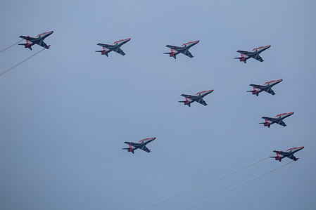 An Indian Air Force aircraft jet performs during 70th anniversary celebrations of the Sri Lankan Air Force in Colombo