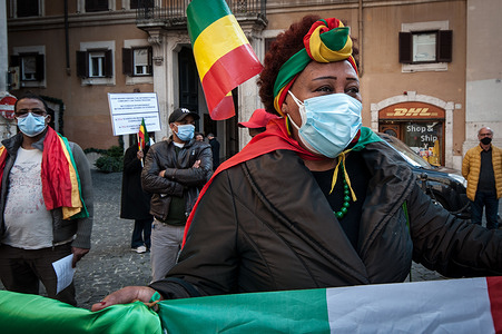 Demonstration in Montecitorio Square of the Ethiopian community in Italy, to raise awareness of public opinion and the Italian Government on the dramatic events of the situation in the region of Tigray.