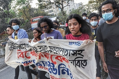The Bangladesh Students Union gathered in the Dhanmondi area of Dhaka to demand justice for the death of jailed writer Ahmed Mushtaq under the Digital Security Act and to repeal the law.  At the same time, they demanded the unconditional release of the activists detained in the movement.