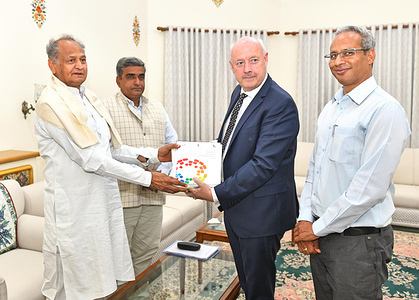 Rajasthan Chief Minister Ashok Gehlot meeting Danish Ambassador Freddy Svane at CM office in Jaipur. Animal Husbandry Minister Lal Chand Kataria and Principal Secretary Kuldeep Ranka is also seen. A Center of Excellence in dairy sector will soon be set up in Rajasthan with the help of Denmark.
