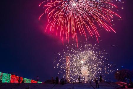 Bangladesh celebrate 50th years of  historical speech of Bangabandhu Sheikh Mujibur Rahman with the fireworks in Dhaka.