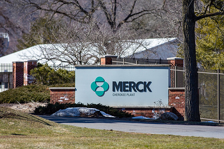 Signage is seen outside of the Merck Cherokee Plant. Merck, known as MSD outside of the United States and Canada, announced positive preliminary findings from its phase 2a trial of investigational COVID-19 therapeutic molnupiravir.