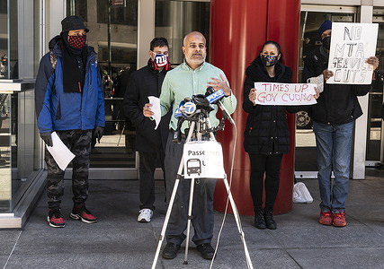 President of Passengers United advocacy coalition Charlton D'souza speaks at press conference calling on Governor Cuomo to resign amid allegation of sexual harassment and stop MTA (metropilitan transit authority) service cuts.